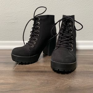 New Black Lace-Up Booties